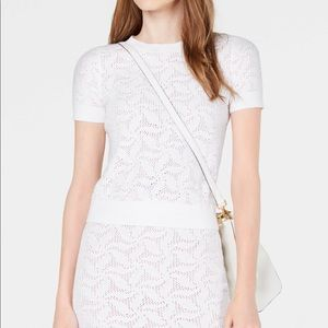 NWT Michael Kors Women's White Mesh Sweater Top M2